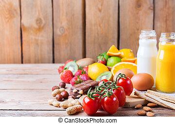 leven, concept, gezonde , allergie, voedingsmiddelen, selectie