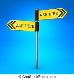 leven, concept, oud, choice., nieuw, life., of