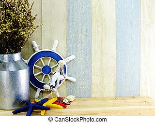 leven, concept, ruimte, stijl, voorwerpen, achtergrond, nautisch, marinier