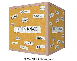 leven, concept, woord, corkboard, kubus, verzekering, 3d