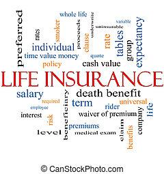leven, concept, woord, verzekering, wolk