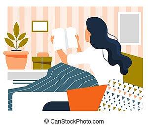 leven, concept., zittende , lezende , vrouw, alledaags, boek, jonge, thuis
