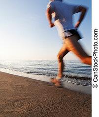 leven, effect., vakantie, verdoezelen, jonge, concepts:, sunrise., motie, gezonde , rennende , vitaliteit, sportende, strand, welzijn, man