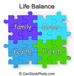 leven, evenwicht, raadsel, optredens, gezin, en, vrienden