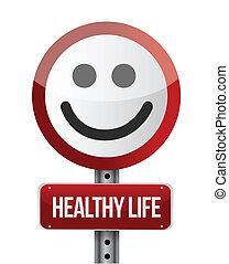 leven, gezonde , illustratie, meldingsbord, ontwerp, straat