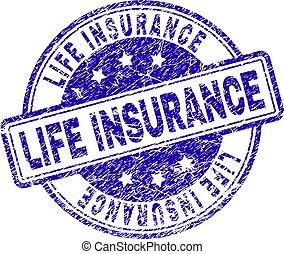 leven, grunge, postzegel, textured, zeehondje, verzekering