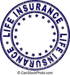 leven, grunge, postzegel, zeehondje, verzekering, textured, ronde