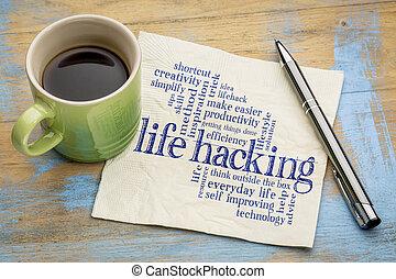 leven, hacking, woord, wolk