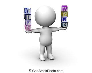 leven, het in evenwicht brengen, man, 3d, werken, lett