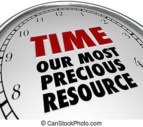 leven, hulpbron, klok, waarde, meest, tijd, ons, kostbaar,...