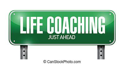 leven, illustratie, meldingsbord, coachend, straat, ontwerp