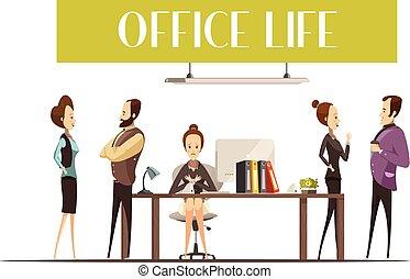 leven, kantoor, illustratie
