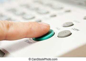 leven, kantoor, knoop, fax, hand, machine, start, dringend,...