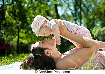 leven, kind, -, moeder, het genieten van, vrolijke