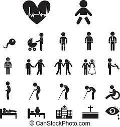 leven, menselijk, pictogram