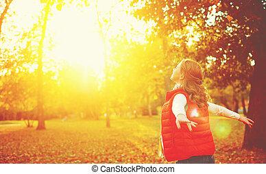 leven, natuur, vrijheid, herfst, meisje, het genieten van, vrolijke