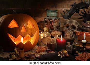 leven, nog, halloween, pompoennen