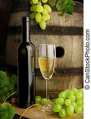leven, nog, vat, druiven, wijntje