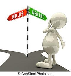 leven, oude mensen, meldingsbord, nieuw, straat, 3d