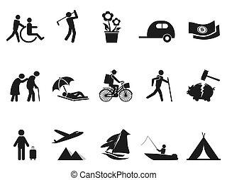 leven, pensioen, black , set, iconen
