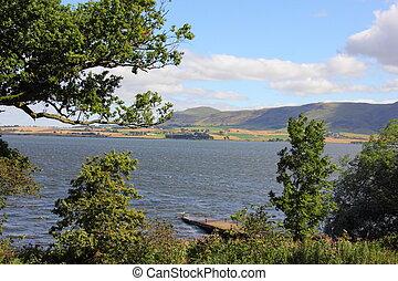 leven, perthshire, sur, ecosse, loch, vue