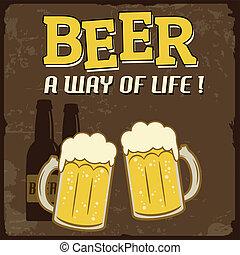 leven, poster, bier, weg, ouderwetse