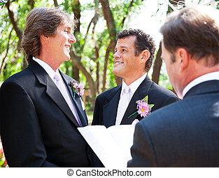 leven, -, samen, vrolijk, trouwfeest