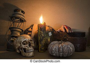 leven, schedel, oud, lamp, kaarsje, nog, pompoen