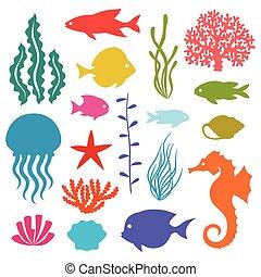 leven, set, iconen, animals., voorwerpen, zee, marinier