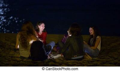 leven, strand, nacht