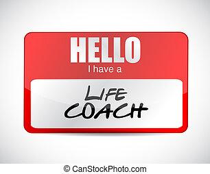 leven, trainer, noem etiket, hebben, hallo