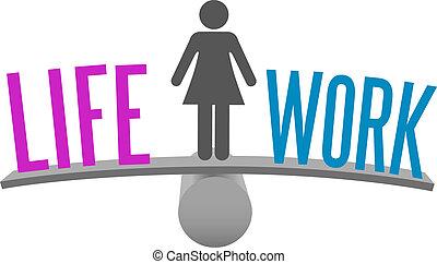 leven, vrouw, beslissing, werken, keuze, evenwicht