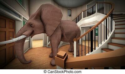 levend, 3d, vertolking, kamer, elefant