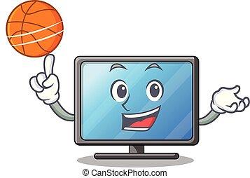 levend, basketbal, kamer, tv, lcd, spotprent
