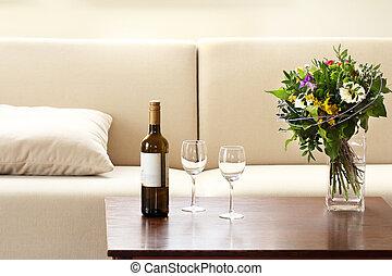 levend, bril, kamer, fles, wijntje