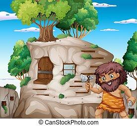 levend, caveman, stonehouse, bijl
