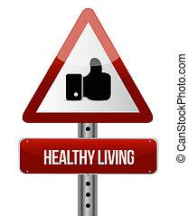 levend, concept, zoals, gezonde , illustratie, meldingsbord