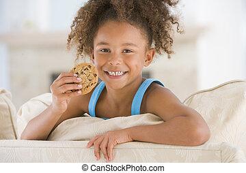 levend, eten, kamer, jonge, koekje, het glimlachen van het meisje