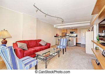 levend, flat, kamer, interior., overzicht., keuken