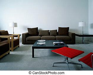 levend, flat, moderne kamer