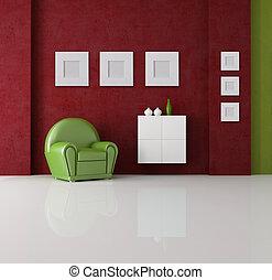 levend, groene, kamer, rood
