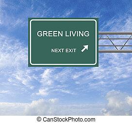 levend, groene, wegaanduiding