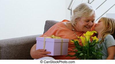 levend, haar, grootmoeder, kleindochter, kussende , kamer