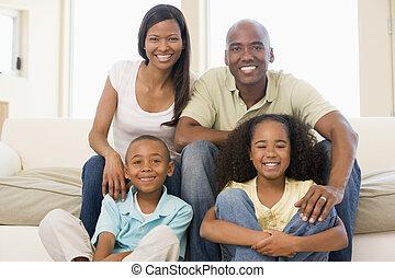 levend, het glimlachen, kamer, gezin, zittende