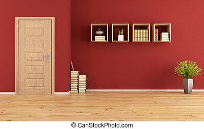 levend, lege, rood, kamer