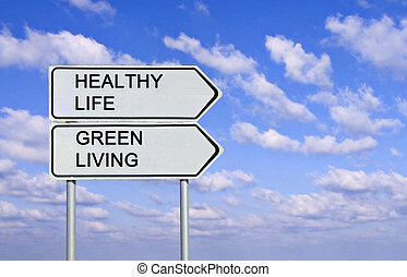 levend, leven, gezonde , groene, tekens & borden, straat