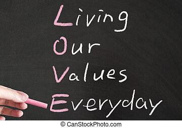 levend, liefde, -, waarden, ons, alledaags