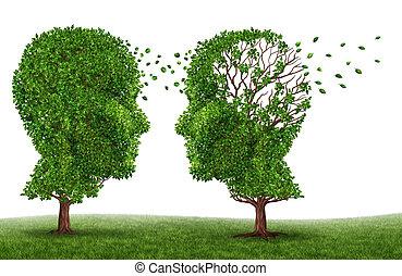 levend, met, een, demente mens, patiënt