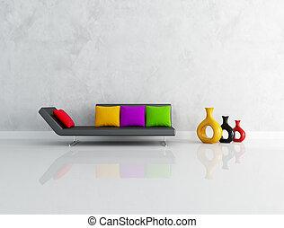 levend, minimalist, kamer, gekleurde