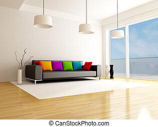 levend, moderne, gekleurde, kamer